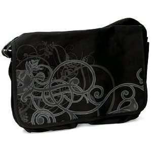 Black Scroll Design Canvas Messenger Bag (16.5 x 12.5