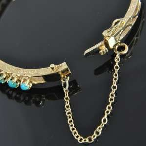 14K Yellow Gold Diamond & Turquoise Edwardian Hinged Bangle Bracelet