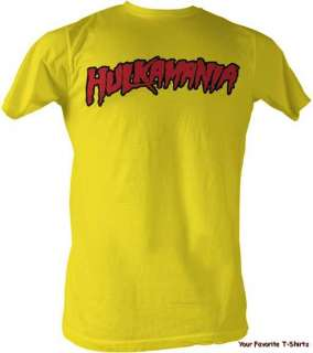 New Licensed Hulk Hogan Hulkamania Yellow Adult Shirt S XXL