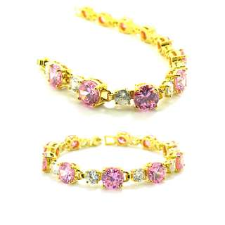 CHRISTMAS GIFT JEWELRY PINK SAPPHIRE YELLOW GOLD PLATED GP BRACELET