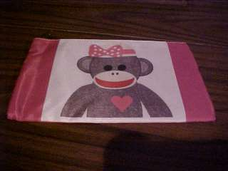 GIRLY SOCK MONKEY on make up cosmetic purse bag NEW