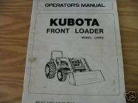 KUBOTA LA852 FRONT LOADER OPERATORS MANUAL
