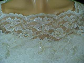 Vtg 50s Ivory Sequin Lace Five Tiered Wedding Dress M