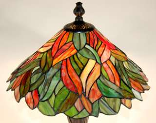 22 High Green Leaf Stained Glass Tiffany Table Lamp