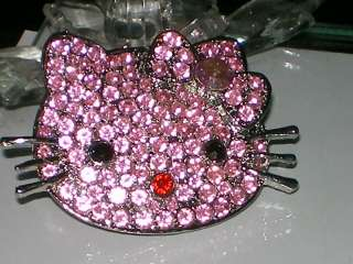 BIG SILVER SP PINK HELLO KITTY CZ CRYSTAL PIN/BROOCH