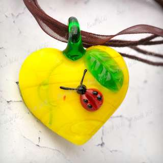 Glass Heart Love Green Leaf Bettle Charm Pendant Cord Necklace