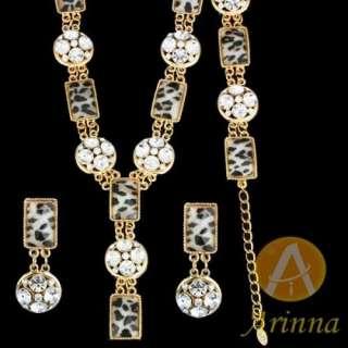 ARINNA leopard charming yellow necklace earrings bracelet Set