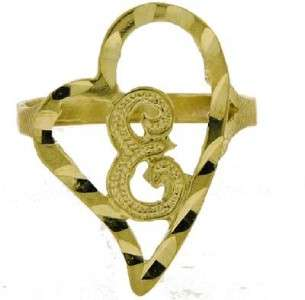 LADIES 10K YELLOW GOLD HEART LOVE INITIAL RING E LETTER