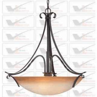 NEW 3 Light Pendant Lighting Fixture, Iron Bronze, Amber Alabaster