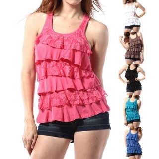 MOGAN Casual Solid Lace Tiered RACER BACK RUFFLE TANK TOP Cozy