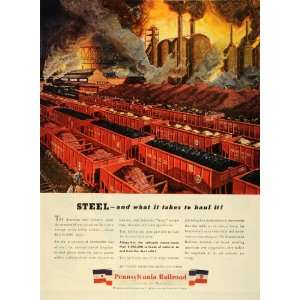 1944 Ad Pennsylvania Railroad Steel Train Factory Rail