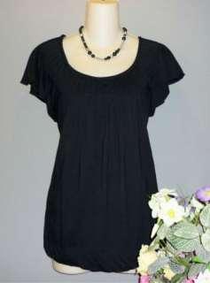 ELLE Womens Black Must Have Tee Top Shirt Blouse Pleats Size M