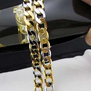 color mens 18k gold filled necklace curb chain link 23.6/42g/7mm