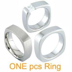 New Mens Titanium Square Ring Wedding Bands /+ CZ Stone