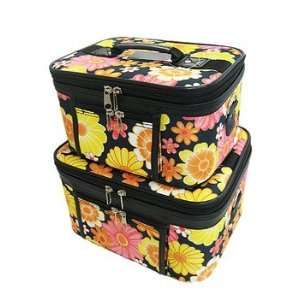 Train Case Cosmetic Toiletry 2 Piece Luggage Set Black Yellow Multi