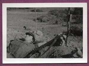 1966 Vietnam 46th Engineer Bn. GI Sleeps with M14 Rifle
