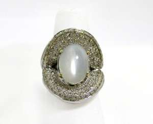 18K White Gold Diamond Moonstone Ring