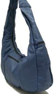Genuine Leather Shoulder Bag Hobo Navy Blue Large Purse Handbag Tote