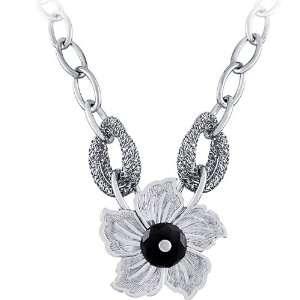 14K White Gold Plated Sterling Silver 16 Inch Fancy Italian Flower W