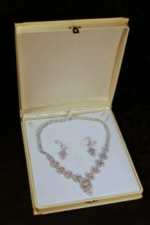 Wedding bridal earrings and necklace set   Cubic zirconia 18K gold