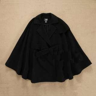 New HM H&M Women Wool Woolen Belt Cape Coat Camel Black