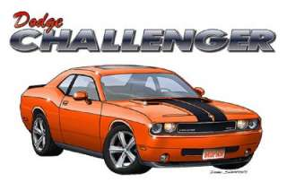 2008 2011 Dodge Challenger Muscle Car Cartoon Tshirt