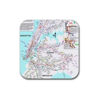 New York City Subway Map Square Rubber Coasters