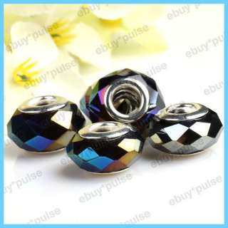 5pcs Murano Art Faceted Purple AB Crystal Glass Lampwork Beads