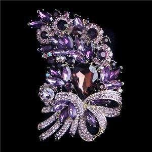 Flower Drop Bow Brooch Pin Purple Swarovski Crystal Floral Bouquet