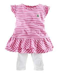 Ralph Lauren Childrenswear Infant Girls Stripe Jersey Dress & Legging