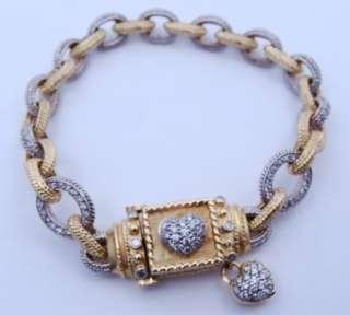 Ladies designer signed 18K Gold Diamond HEART Bracelet