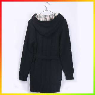Womens Hoody Long Sleeve Cardigan Knit Sweater Ladies Hoodie Coat