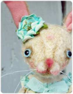 OOAK PFATT PRIMITIVE FOLK ART EASTER BUNNY RABBIT DOLL EHAG