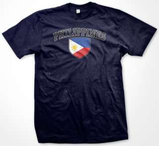 Philippines Country Flag Shield Mens T Shirt Filipino
