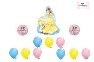Belle Princess Happy Birthday Party Balloon Set Lot Mylar Latex