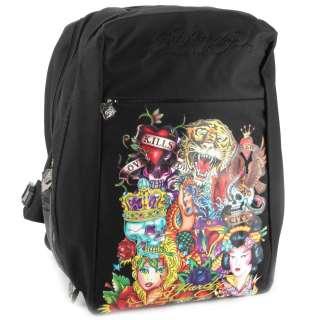 Ed Hardy Black AL All Over Print Laptop Backpack  Black