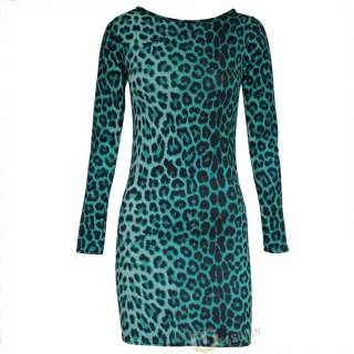 NEW WOMENS LADIES ANIMAL LEOPARD PRINT BODYCON DRESS TOP SIZE UK 8,10