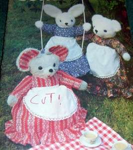 PATTERN 431 STUFFED MOUSE BEAR RABBIT CLOTHES APRON PAJAMA BAG TOY