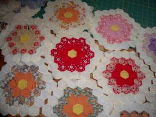 45 Vintage Grandmothers Flower Garden Quilt Blocks, 1930s Feed Sacks