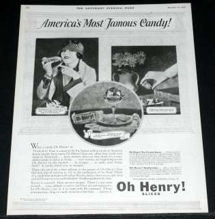 1925 OLD MAGAZINE PRINT AD, OH HENRY! CANDY BAR & FAMOUS FILM STAR