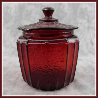 RUBY RED GLASS COOKIE BISCUIT JAR CANISTER Open Rose Mayfair Floral