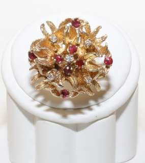 Estate 14K Solid Gold 1.0ct Ruby & Diamond Flower Ring