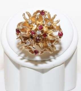 Estate 14K Solid Gold 1.0ct Ruby & Diamond Flower Ring