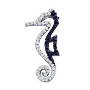 Black Diamond Seahorse Pendant Fashion Charm 10k White Gold (1/4 CTW)
