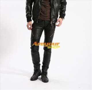 Bruce Shark Mens PU Leather Pants Jeans Trousers Fashion Size 28 36