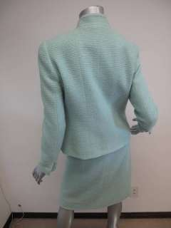 COLLECTION 97C* Chanel Mint Green Ribbed Button Down Jacket/Skirt Suit