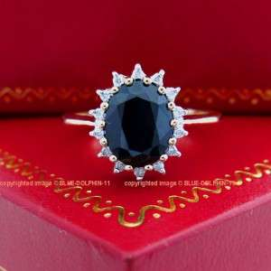 Natural Diamonds Blue Sapphires Solid 9CT Yellow Gold Engagement Rings