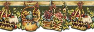 Die Cut BASKET,FRUIT,FLOWER Wallpaper Border NC76773DC