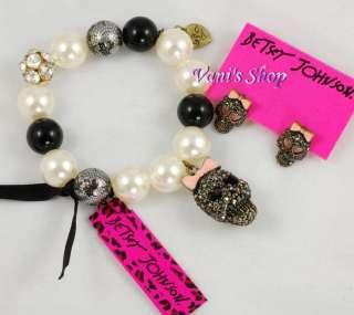 BETSEY JOHNSON Jewelry Black crystal skull earrings + bracelet set