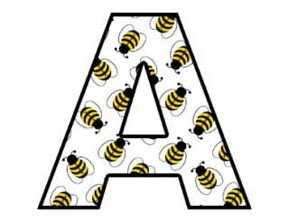 BEES ALPHABET LETTERS BABY NAME WALL STICKERS DECALS